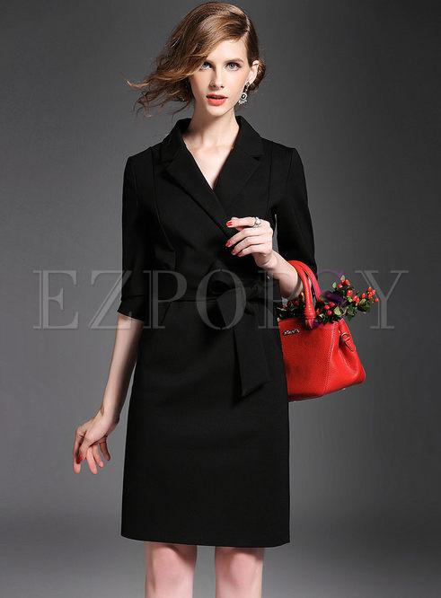 Suit Collar Elegant Winter Dress With Bowtie Belt Ezpopsy