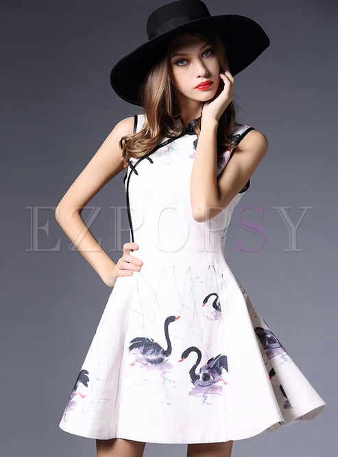 Mandarin Collar Side Slit Print Dress
