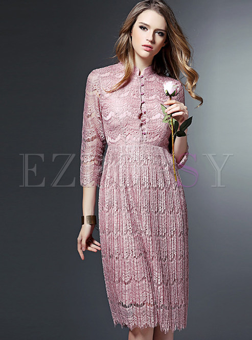 3136ae8d778 Skater Dresses.   Pink Long Sleeve Lace Dress