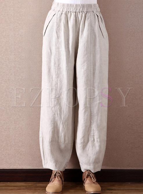 Casual Linen Lantern Pants
