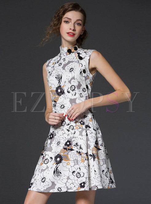 Sleeveless Stand Collar Print Dress