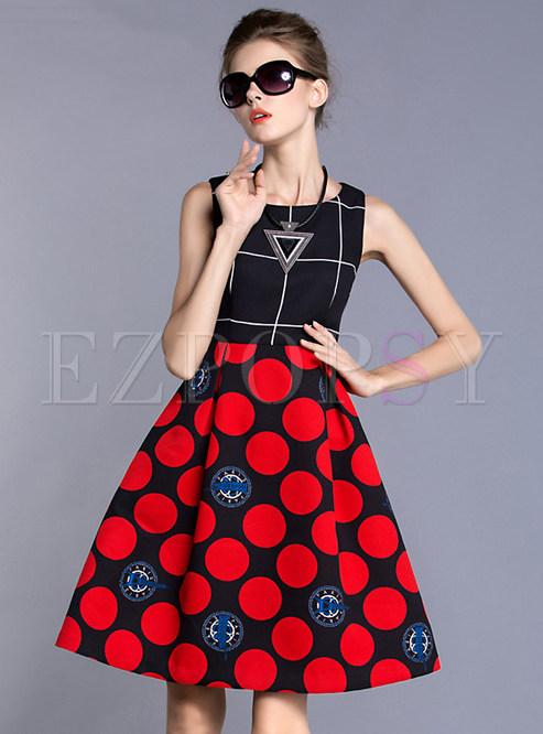 Sleeveless Patch Print A-Line Dress