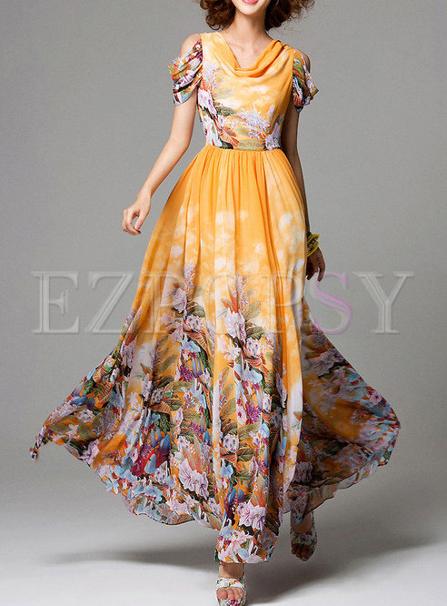 Orange Summer Print Maxi Beach Dress