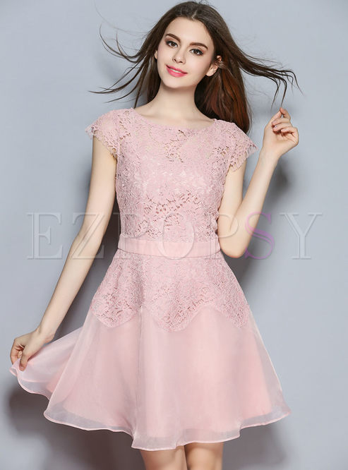 9e0a2f6c73fb Skater Dresses.   Pink Organza Lace Patch Tight ...