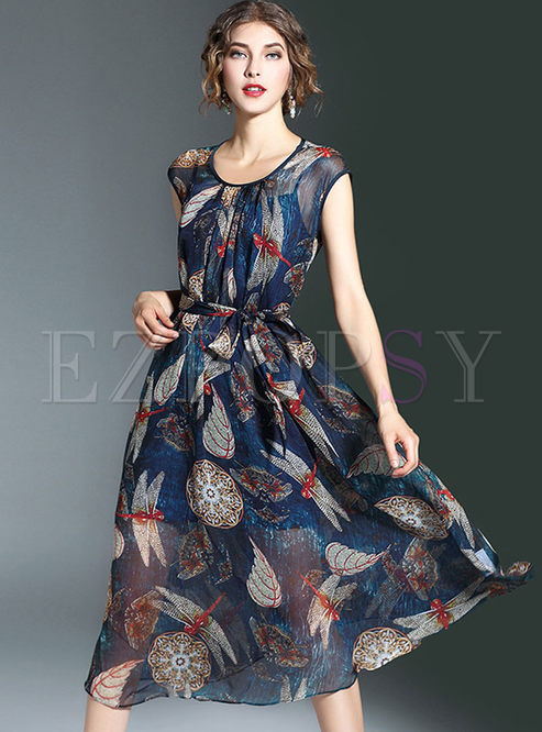 Vintage Dragonfly Print Tight Waist A-Line Maxi Dress