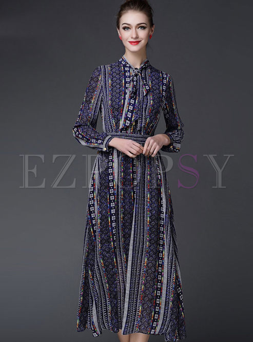 Vintage Long Sleeve Stripe Patch Maxi Dress