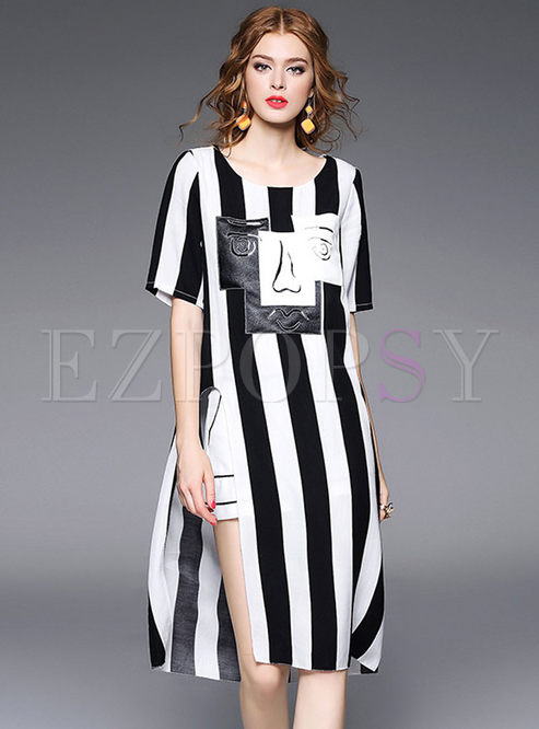 deacad593a T-shirt Dresses.   Chic Vertical Striped ...