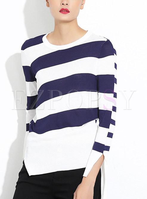 All-Match Slim Stripe Stitching Asymmetrical Sweater ...