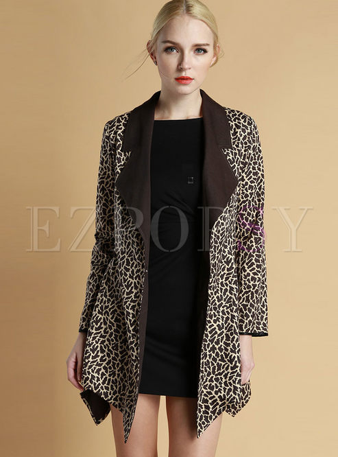 Fashionable Leopard Patchwork Lapel Coat