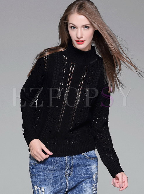 High Collar Hollow Out and Beads Knit Sweater