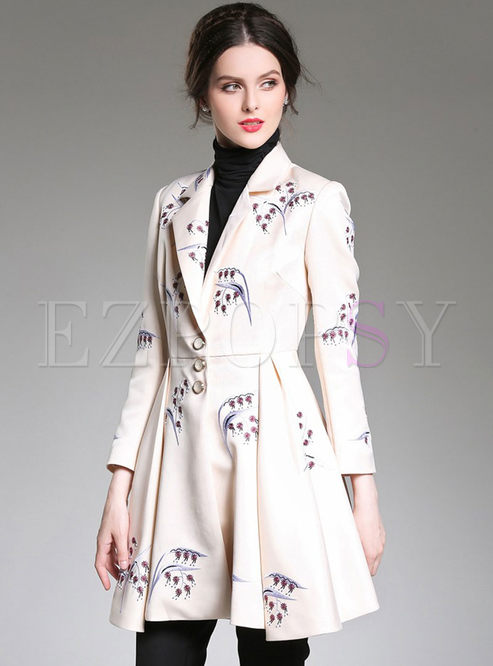 Notched Embroidered Pleated A Line Trench Coat