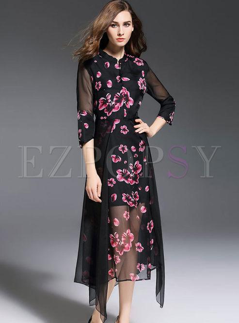 Fashion Flower Print Improved Cheongsam Long Dress