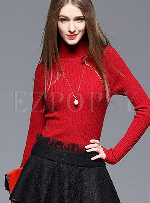 Fashion Wool Slim Turtleneck Sweater