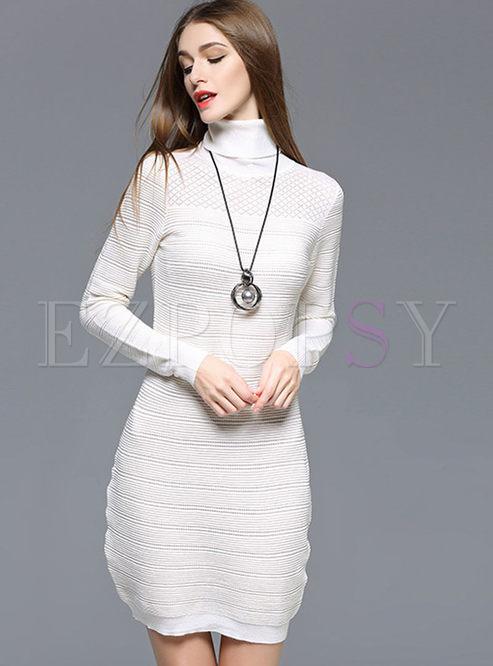 Wool Turtleneck Bodycon Dress