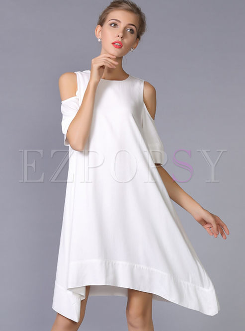 Brief Loose Off Shoulder Shift Dress