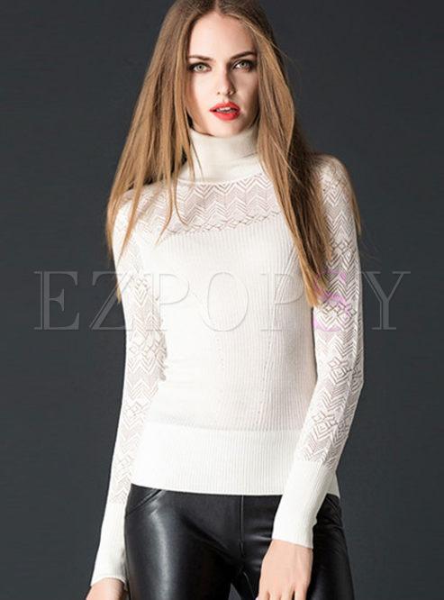 Fashion Turtleneck Slim Lace Sweater
