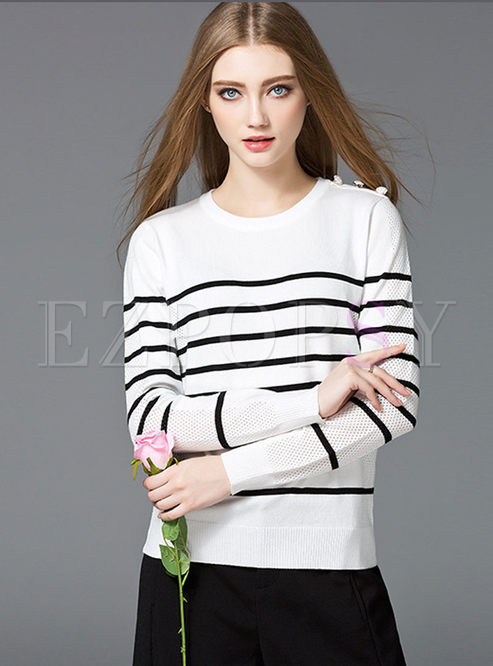 Fashion Stripe Hollow O-neck Sweater