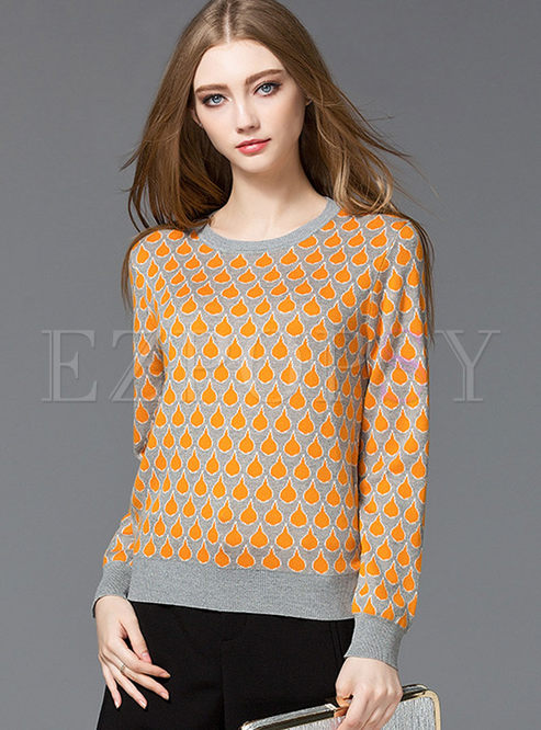 Fashion Hit Color Drop Print O-neck Sweater