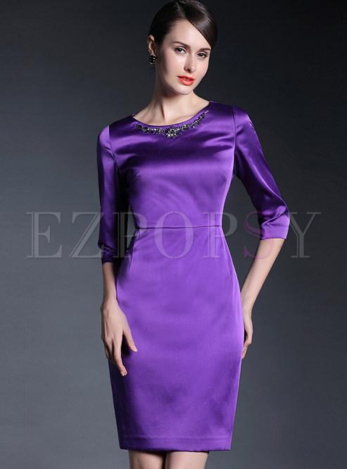 Pure Color Three Quarter Sleeve Skinny Dress