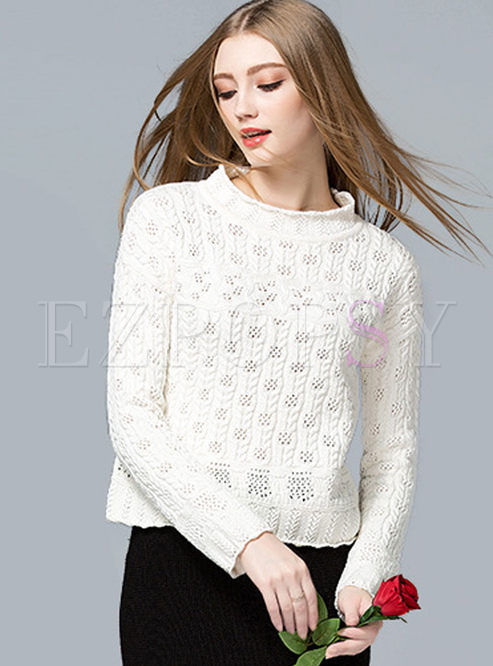 Sweet Hollow O-neck Pullover Sweater