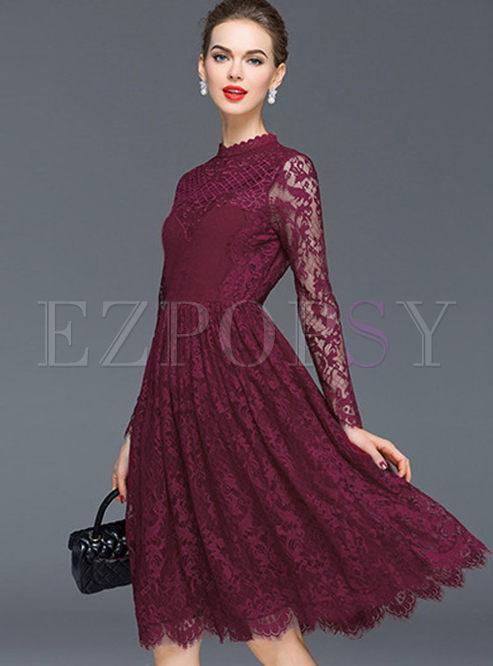 Elegant Pure Color Lace High Wasit Skater Dress