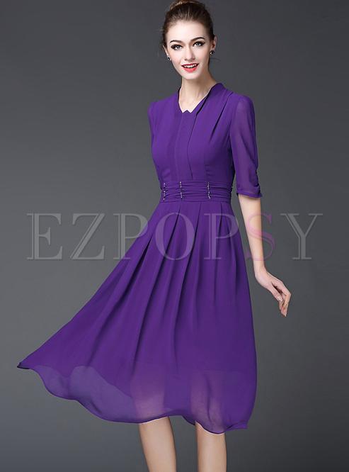 Pure Color Patch A-Line Dress