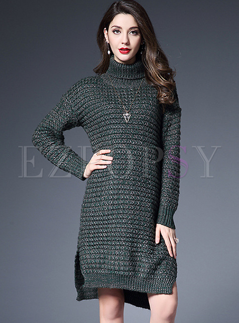 0bf7bea9dcb Dresses | Knitted Dresses | Loose Split-side Turtle Neck Loose Knitted Dress