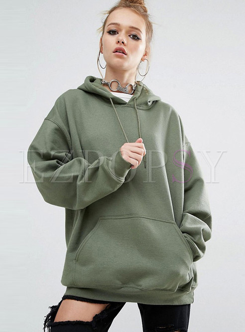 Army Green Oversize Pullover Hoodie | Ezpopsy.com