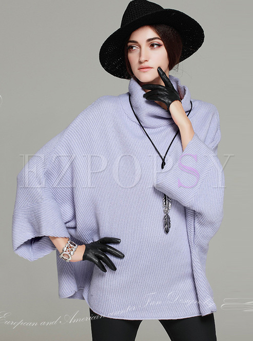 Tops | Sweaters | Elegant Purple High Neck Loose Sweater - photo#32
