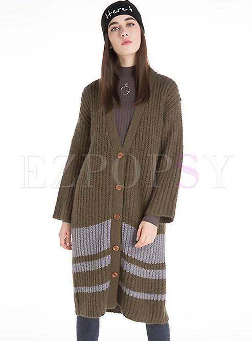 Tops Sweaters Drop Shoulder V Neck Stripe Cardigan Knit Sweater