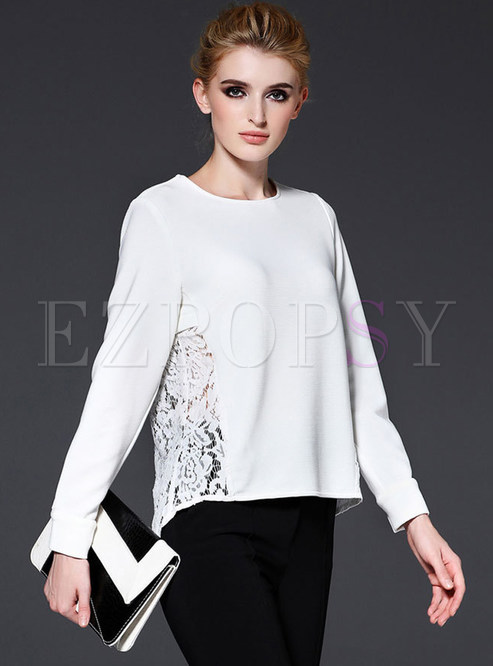 Fashion Lace Patch O-neck Loose T-Shirt