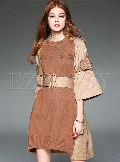 Patch Stylish Flare Sleeve Loose Skater Dress