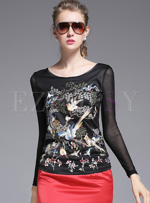 Sweet mesh patch slim embroidered t shirt for Embroidered mesh t shirt