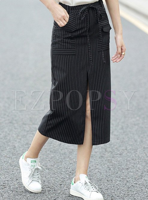 Striped Pocket Casual Plus Size Skirt