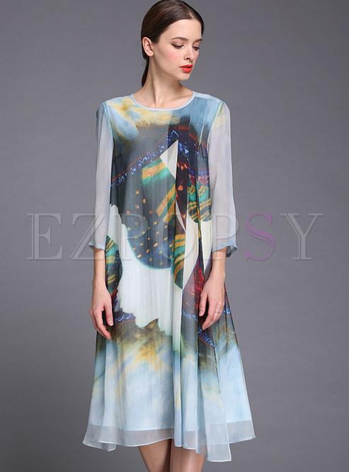 Dresses Shift Dresses Plus Size Patch Mesh Print Silk Shift Dress