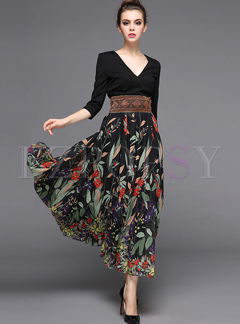Stylish Stitching High Waist Maxi Dress Ezpopsy Com