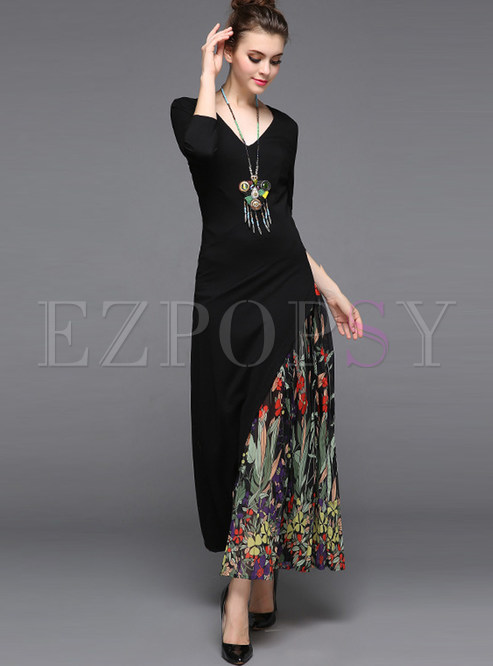 Ethnic Chiffon V-neck Stitching Maxi Dress
