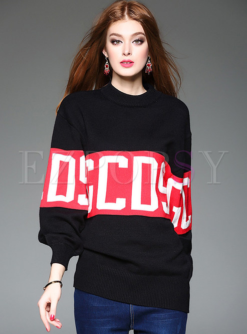 Letter Print Loose Long Sleeve Pullover Sweater