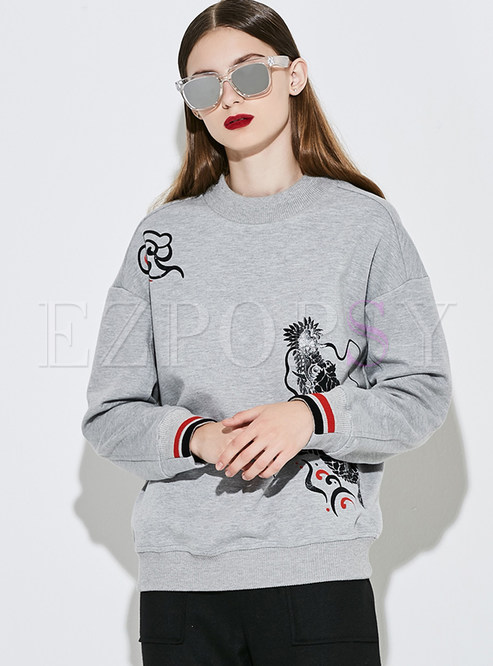 Fashion Print Loose Pullover Hoodies