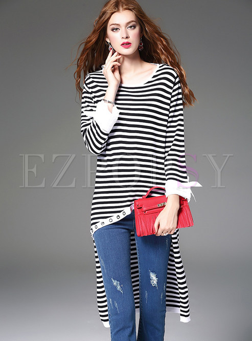 Fashion Stripe O-neck Asymmetrical T-shirt