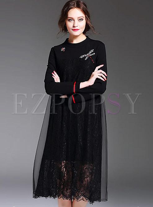Patch Lace Voile Plus Size Long Sleeve Shift Dress Ezpopsy