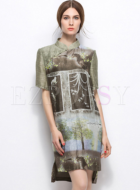 Retro Floral Print Asymmetric Hem Shift Dress