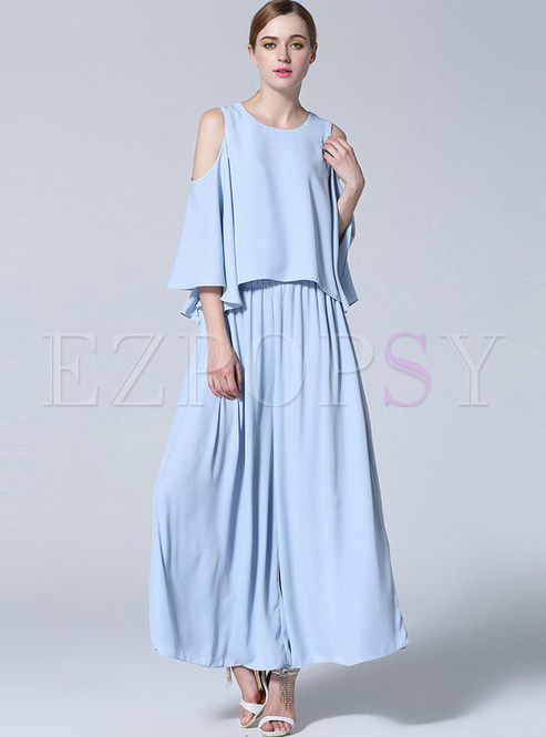 11714838a8e51 Two-piece Outfits.   Casual Ruffle Sleeve Off Shoulder Top   Loose ...