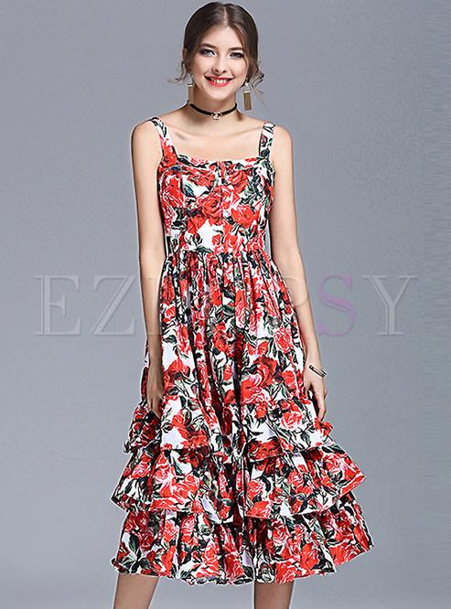Skater Dresses.   Cute Floral Print Big Hem Backless ... 6ab0347a9