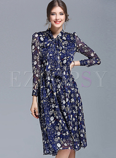 Stand Collar Big Hem Floral Print Chiffon Skater Dress