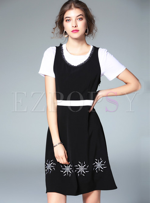 bad1a9e9f3b7 Two-piece Outfits.   Casual White T-shirt   Brief Hit Color Sleeveless Skater  Dress