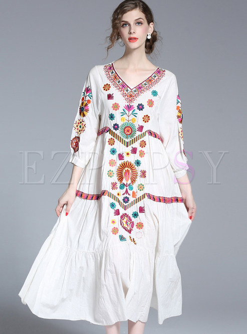 Dresses Maxi Dresses Ethnic V Neck Loose Embroidered