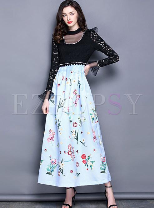 9ee0f2239a3 Maxi Dresses.   High-end Falbala Mesh Patchwork Print Maxi Dress