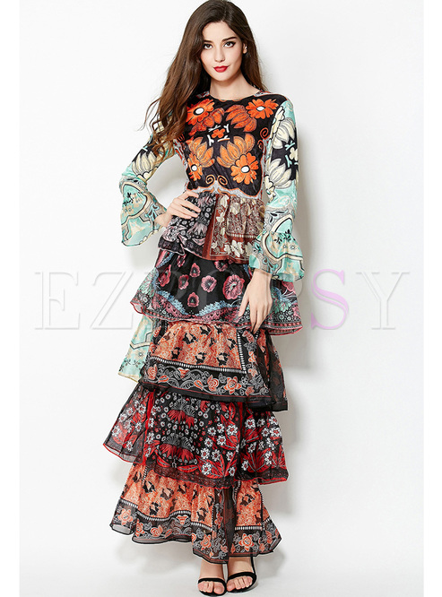 Long Sleeve Print Layered Slim Prom Dress