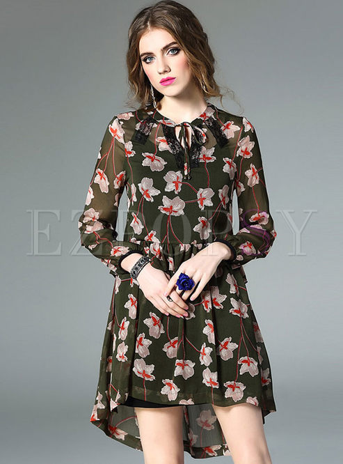 Casual Asymmetric Floral Print Chiffon Skater Dress With Underskirt